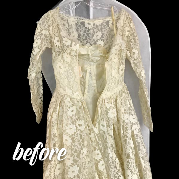 Antique Dress Cleaning Before