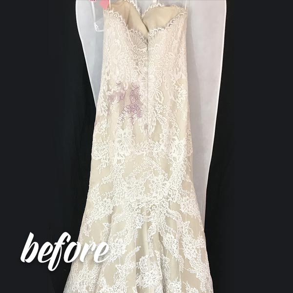 Wedding Dress Wine Stain Removal before