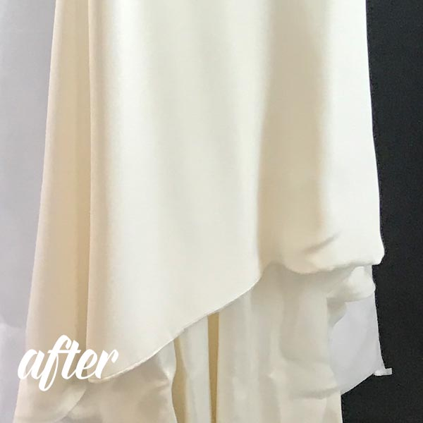 Bird Poop on wedding dress removed